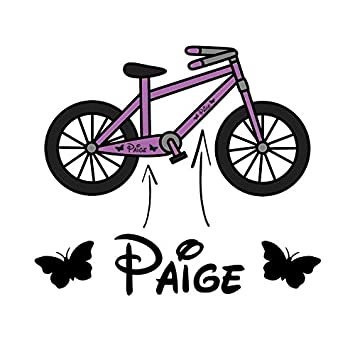 2x girls personalised bike frame vinyl decal sticker childs kids bicycle name trike designed and