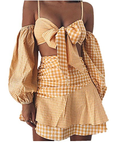 Women's Off Shoulder 2 Pieces Plaid Dress Outfits Tie Knot Front Crop Tops + Ruffle Skirt (Small, (Plaid Tie Front Skirt)