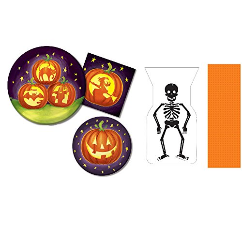 Halloween Party Supplies – Pumpkin Themed 9 Inch Dinner Plate, 7 Inch Dessert Plate, 13 Inch Napkin, Orange Table cover & Skeleton Treat Bag For Party of (Halloween Kid Dinner Ideas)