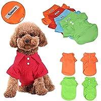 KINGMAS 4Pcs Pet Dog Puppy Polo T-Shirt Clothes Outfit Apparel Coats Tops (Medium)