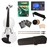 Cecilio CVN-White Ebony Fitted Solid Wood Violin with Tuner and Lesson Book - Metallic White, Size 4/4 (Full Size)