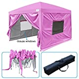 Quictent 2018 Upgraded Privacy 10×10 EZ Pop Up Canopy Tent Folding Canopy with Sidewalls & Mesh Windows Waterproof (Pink) For Sale