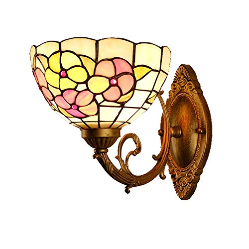XNCH Tiffany Style Wall Lighting Stained Glass Wall sconces Living Room Bedroom Bedside Bedside lamp Study Aisle Garden Village Small Floral Bathroom lamp ()