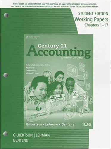 Amazon working papers chapters 1 17 for gilbertsonlehman working papers chapters 1 17 for gilbertsonlehmangentenes century 21 accounting general journal 10th 10th edition fandeluxe Gallery