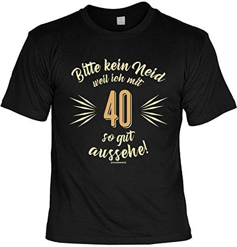 T-Shirt mit Urkunde - Bitte kein Neid weil ich mit 40 so gut aussehe - Geschenk Set mit lustigem Spruch als ideales Geburtstagsgeschenk