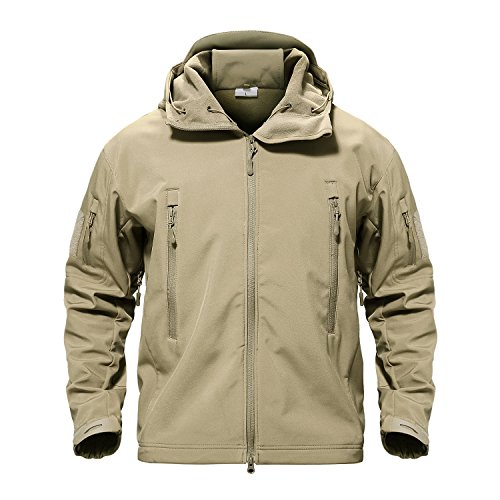 TACVASEN Men's Water Resistant Softshell Tactical Hoodie Jacket Fleece Outerwear Khaki,US L