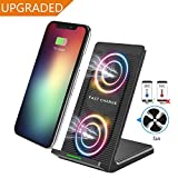 Fast Wireless Charger,2 Coils Qi Fast Wireless Charging Pad Stand with Cooling Fan for Samsung Galaxy Note 8 S8 S8 Plus S7 S7 Edge Note 5 S6 Plus and for iPhone X iPhone 8 iPhone 8 Plus By Zeekoo