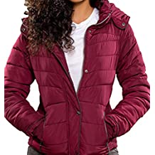 YMI New Outerwear Thick Puffer Burgandy Color Hoodie Jacket Coat