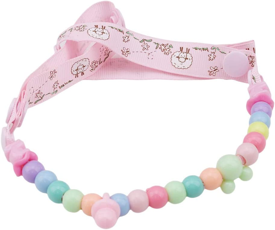 HYhy Baby Dummy Clips Pacifier Chain Teething Relief Toys Beads for Girls Soothie Pacifier Holder Binky Clips Best Baby,Tricolor stripe