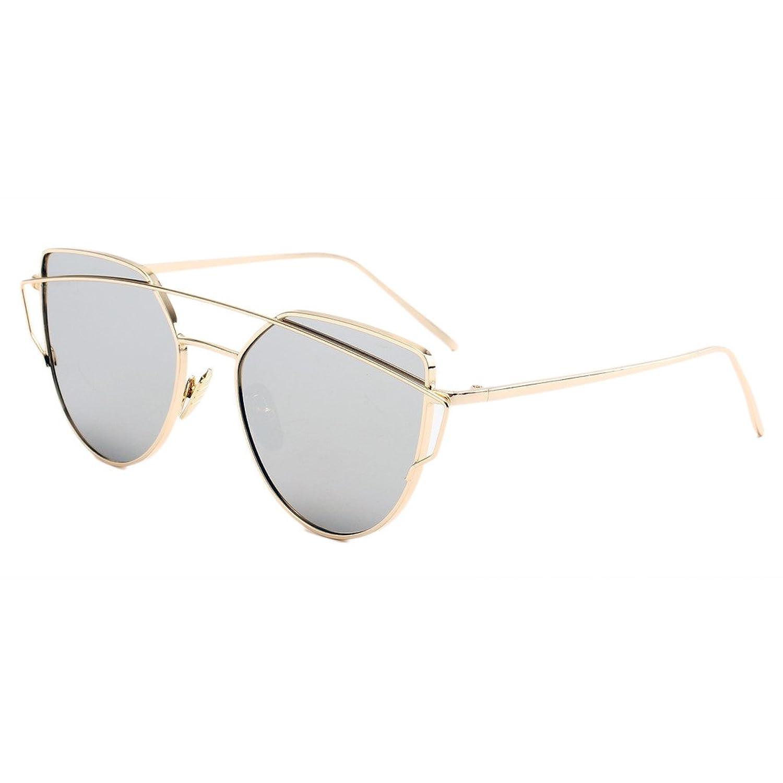 38cdfb9cecb Evebright Women s Classic Retro Metal Polarized Mirror Cat Eye Sunglasses  57mm 50%OFF