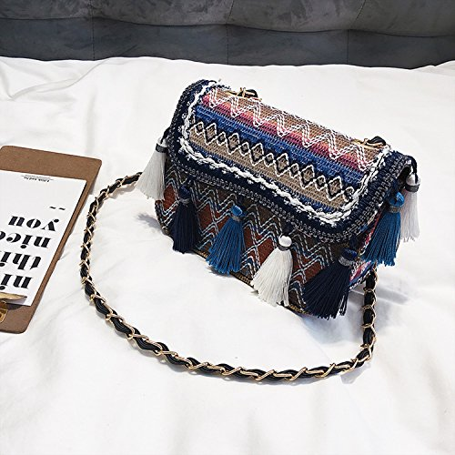 Blue handbags version bags creative shoulder single 2018 tassel Korean xtw868