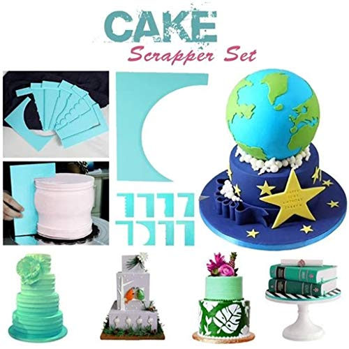 youul 8-Style Cake Decorating Scrapers, Baking & Pastry Spatulas, Edge Side Cream Decorating Tool, Cake Scraper Fondant Cream Spatula Edge Smoother Blade Baking Decoration Tool (blue)