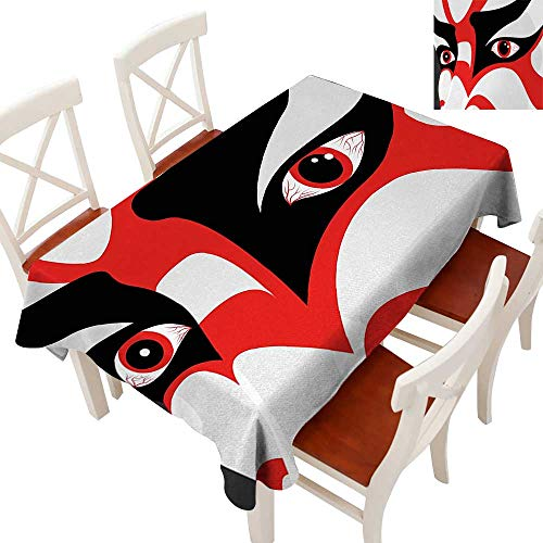 WinfreyDecor Fabric Dust-Proof Table Cover Waterproof/Oil-Proof/Spill-Proof Tabletop Protector Japanese Drama Theme Kabuki Face with Dramatic Eyes Cultural Theater Black White Orange 60