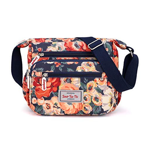 - Casual Nylon Floral Shoulder Bag For Women Crossbody Bag Messenger Bags Travel Handbags With Adjustable Strap Waterproof (flower)