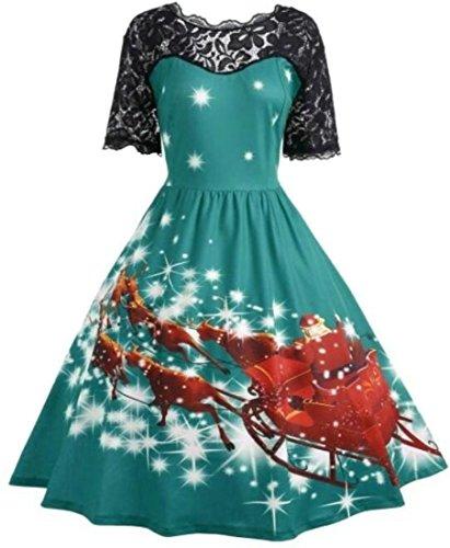 Stitching Sleeve Dres Midi Short Womens Swing Jaycargogo Green Winter Christmas Lace IUgHwq