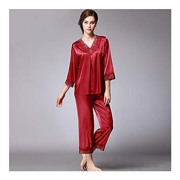 HAOLIEQUAN Conjunto De Pijamas De Mujer De Otoño Set De Dormir De Seda Ropa De Noche