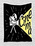 Ambesonne Movie Theater Tapestry, Movie Projector Sketch with Grunge Cinema Lettering on Black Backdrop, Wall Hanging for Bedroom Living Room Dorm, 40 W X 60 L inches, Yellow Black White