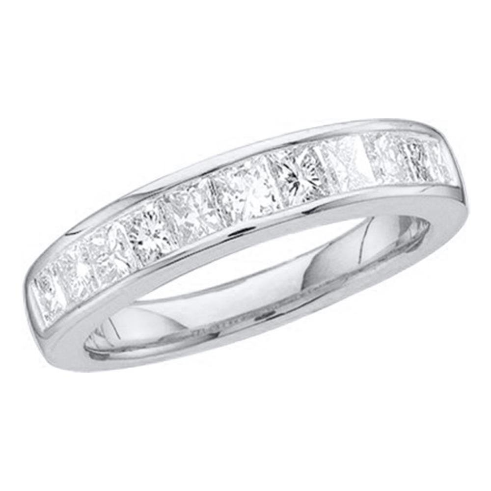 Sonia Jewels Size - 7-14k White Gold Princess Cut Channel Set Eleven Diamond Ladies Womens 11 Stone Wedding or Anniversary 3mm Ring Band (1/2 cttw)