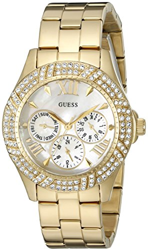 (GUESS Women's U0632L2 Sporty Gold-Tone Watch with MOP Dial , Crystal-Accented Bezel and Stainless Steel Pilot Buckle)
