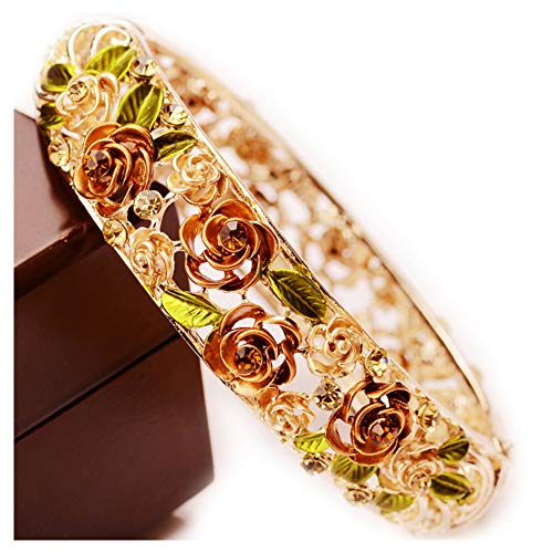 Gold Plating Vintage Flower Bracelet Bangle Crystal Beads Hand-Painted -