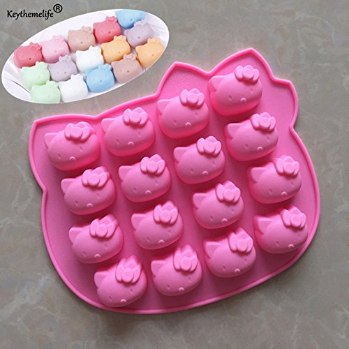 16 Hole Hello Kitty silicone cake mold Fondant Soap 3D Cake Pudding Mold Candy Chocolate Decoration Baking Tool Moulds]()
