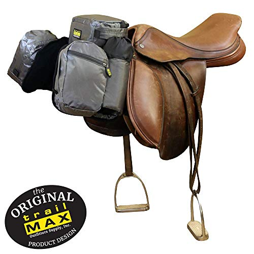 (TrailMax English/Endurance Horse Saddle Bag for Trail-Riding, Featuring 3 Compartments & Quick Release Compression Straps, Pewter Gray)