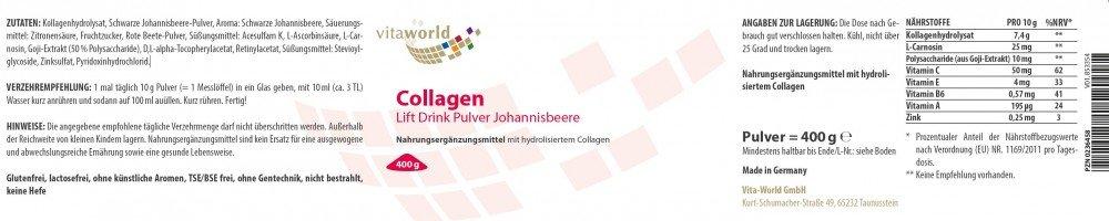 Colágeno en polvo 400g Vita World Farmacia Alemania - Cerezas - Belleza: Amazon.es: Salud y cuidado personal
