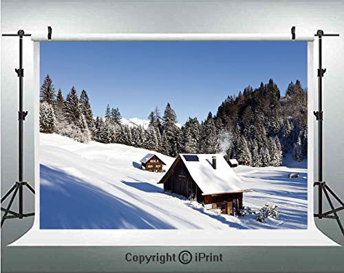 Winter Photography Backdrops Log Cabins in The Mountains Sunny Winter Day Rural Scene Holiday Vacation Decorative,Birthday Party Background Customized Microfiber Photo Studio Props,8x8ft,