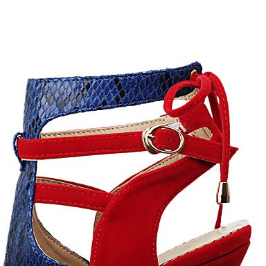 LFNLYX Sandalias mujer Primavera Verano Otoño otros PU Parte & vestido de noche casual Stiletto talón hebilla Negro Rojo Red