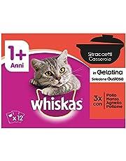 Whiskas Straccetti in Gelatina Selezione Gustosa 1+ 8 x 85 g - Cibo per Gatto - 4 Confezioni (32 Bustine in Totale)
