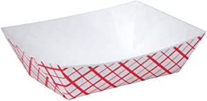 A World Of Deals #25 Paperboard Red Check Food Tray, 1/4-lb Capacity (Pack of 250)