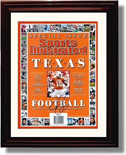 Framed Vince Young Texas Football Commemorative SI Autograph Replica Print