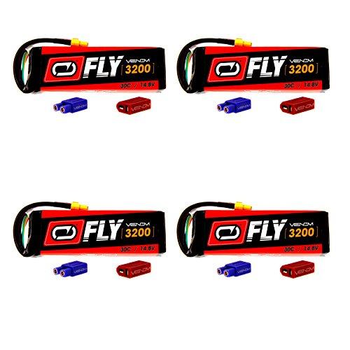 Venom Fly 30C 4S 3200mAh 14.8V LiPo Battery with  UNI 2.0 Plug (XT60/Deans/EC3) x4 Packs Compare to E-flite EFLB32004S30