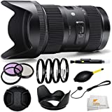Sigma 210306 18-35mm F1.8 DC HSM Lens for Nikon APS-C DSLRs (Black) + 3 Piece Filter Kit (UV-CPL-FLD) + 4 Piece Macro Fi
