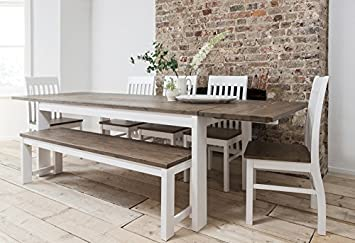 Hever Dining Table With 5 Chairs Bench In White And Dark Pine Extendable 2