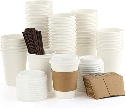 100 Pack 12 Ounce Bulk Disposable Office Coffee Tea Cups with Lids Sleeves & Stirrers