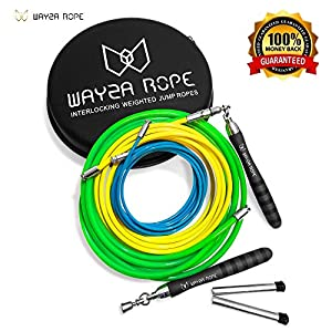 Wayza Rope Interlocking Weighted Jump Rope – Premium Heavy 1.5 lb. Mid 1 lb. Speed Rope .5 lb. CrossFit Skipping Rope for Cardio Weight Loss MMA Fitness Training Adjustable for Men, Women and Children