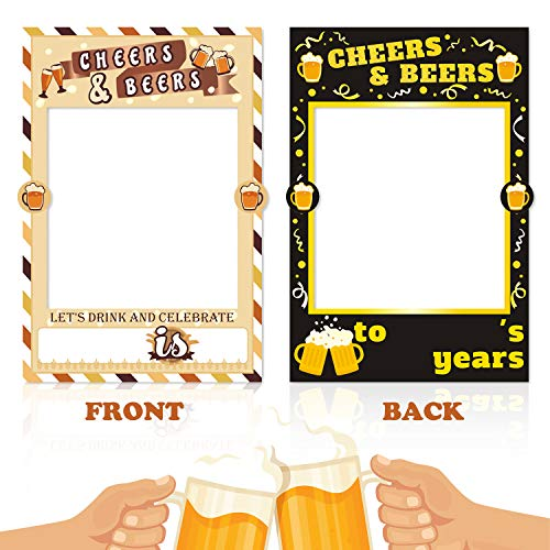 Cheers & Beers Photo Booth Frame Beer Party Selfie Photo Props for Cheers & Beers 30th 40th 50th Birthday Anniversary Party Decorations Cutout Frame -
