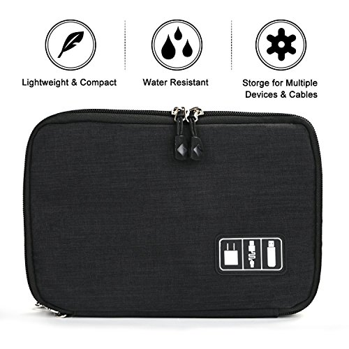 YC Choice Cable Organizer Bag, Universal Double Layer Travel USB Storage Bag Electronics Accessories Travel Organizer Bag for iPad, USB,Flash Drive,Phone,Charger,Power Bank by YC Choice (Image #1)