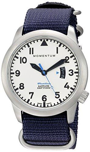 Momentum Men's Swiss Quartz Stainless Steel and Nylon Watch, Color:Blue (Model: 1M-SP18LS7U)