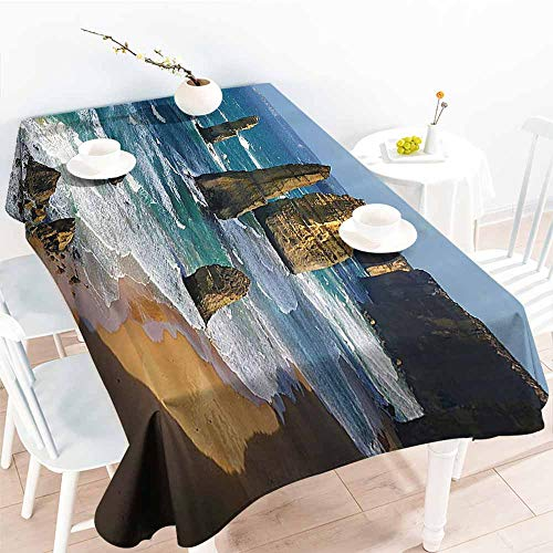 Homrkey Polyester Tablecloth Seaside Decor Collection Australia Rock Face Lookout by The Sea Sightseeing Panoramic Picture White Blue Teal Table Decoration W40 xL60 -