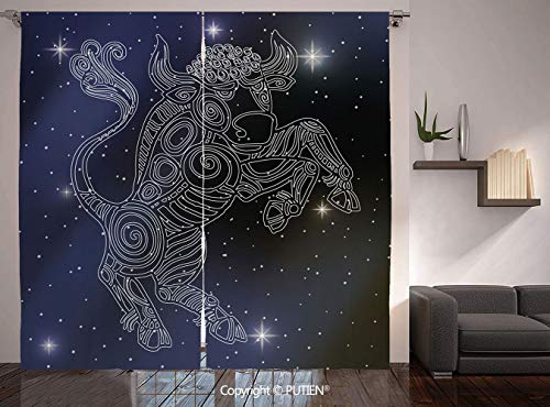Thermal Insulated Blackout Window Curtain [ Taurus,The Sun on Bull Sign Symbol Mythological Figure on Milky Way Celestial Illustration,Grey Purple ] for Living Room Bedroom Dorm Room Classroom Kitchen
