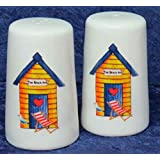 Beach Huts cruet set salt & pepper set 3 colours of beach huts to choose (Yellow beach hut) by crackinchina
