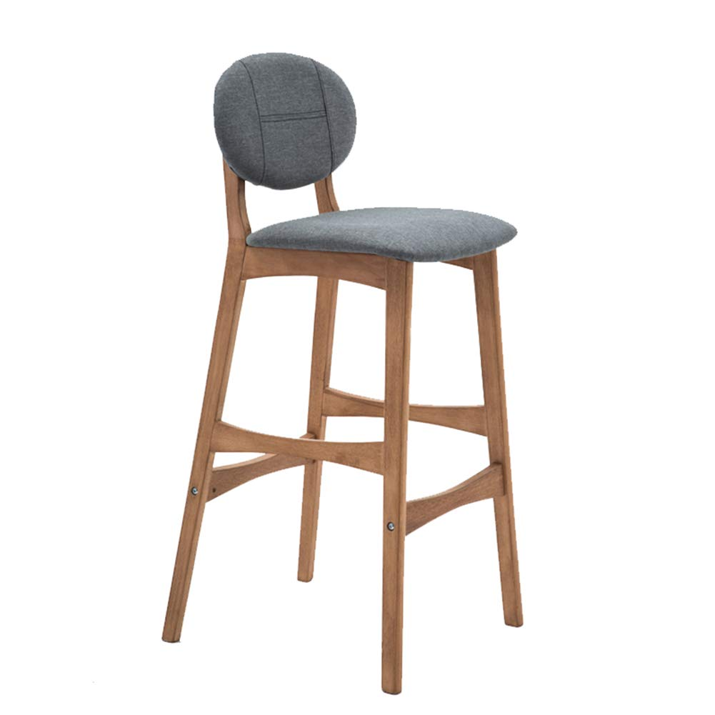 LIQICAI Wooden Bar Stool with Cotton and Linen Backs Seat Extremely Comfy Barstool, Wood Color Stool Frame, 4 Colors Optional (Color : Gray, Size : 64cm Seat Height)