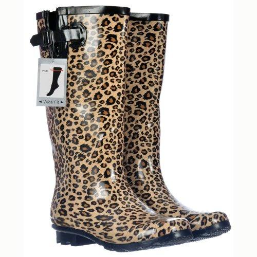Stivali Da Pioggia Onlineshoe Da Donna Con Polpacci Larghi Stampa Leopardo Black Yello
