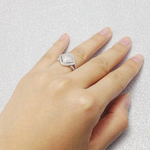 Amazon Rhodium Cz Silver Ring