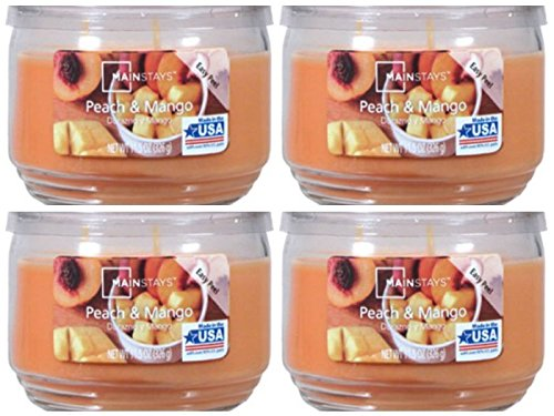 Mainstays 11.5oz Scented Candle, Peach & Mango 4-pack