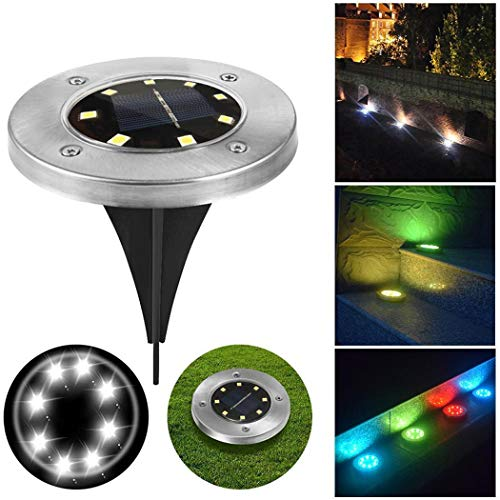 (Hello22 Solar LED Garden Lights Outdoor in-Ground Light Landscape Lighting 7 Color Changing Stainless Steel Pathway Light for Walkway Patio Yard Lawn Driveway Flowerbed Courtyard Decoration)