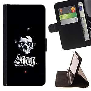 KingStore / Leather Etui en cuir / Samsung Galaxy S4 Mini i9190 / Swag del cráneo
