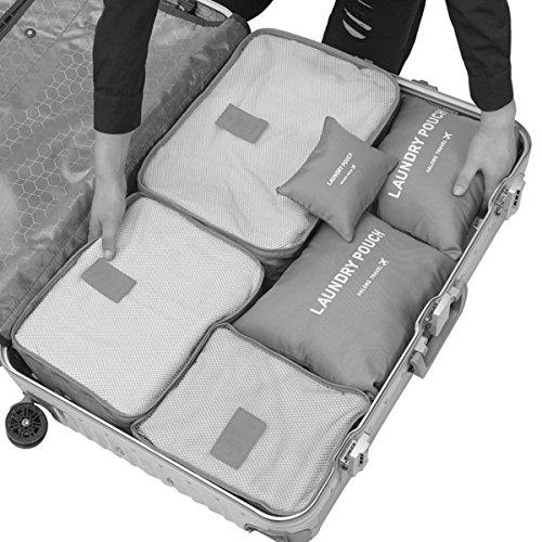 Clothes Storage Travel Luggage Organizer Pouch (Grey) Set of 6 - 3